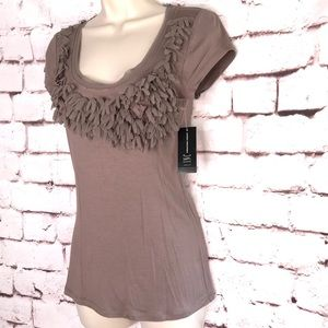 INC Gypsy taupe cap sleeve tee with petal detail